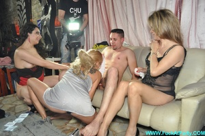 Orgy party pics of real amateur dude gets his ass hole fingered and cock sucked by three babes. - XXXonXXX - Pic 10