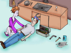 Cartoon lusty redhead housewife jerking off - Picture 4