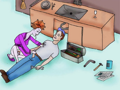 Cartoon lusty redhead housewife jerking off - Picture 5
