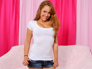 lusty teen plays with