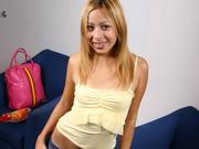 blonde babe unbutton her