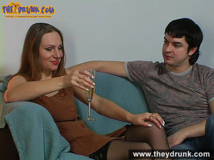 Teen couple celebrating with champagne and they end up in a good fuck - XXXonXXX - Pic 1