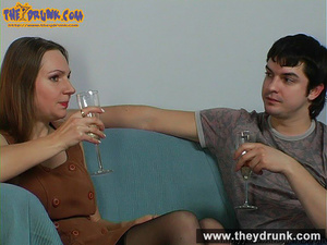 Teen couple celebrating with champagne and they end up in a good fuck - XXXonXXX - Pic 2