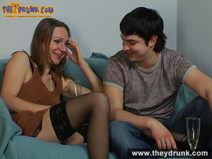 Teen couple celebrating with champagne and they end up in a good fuck - XXXonXXX - Pic 7