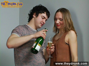 Teen couple celebrating with champagne and they end up in a good fuck - XXXonXXX - Pic 9
