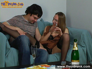 Teen couple celebrating with champagne and they end up in a good fuck - XXXonXXX - Pic 10