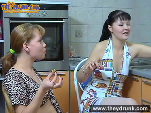 Tipsy girls play with each other in kitchen using a big dildo - XXXonXXX - Pic 2