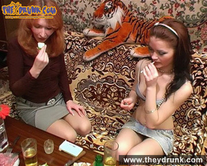 Lesbians relaxing with snacks, drinks and sex - XXXonXXX - Pic 7