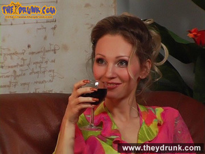 Blond girl in pink blouse and miniskirt drinks wine with her boyish girlfriend - XXXonXXX - Pic 3