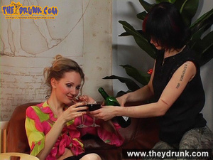 Blond girl in pink blouse and miniskirt drinks wine with her boyish girlfriend - XXXonXXX - Pic 4