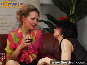 Blond girl in pink blouse and miniskirt drinks wine with her boyish girlfriend - XXXonXXX - Pic 15