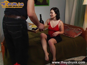 Sexy slut in black skirt and red top made drunken by man finally she gets completely nude - XXXonXXX - Pic 1