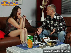 Daddy has a few drinks with his stepdaughter and they have oral sex - XXXonXXX - Pic 1