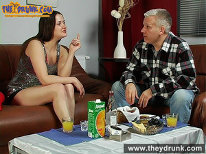 Daddy has a few drinks with his stepdaughter and they have oral sex - XXXonXXX - Pic 5