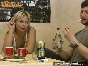 Tipsy smoking blondie in babydoll seducing her boy - XXXonXXX - Pic 1