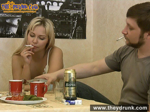 Tipsy smoking blondie in babydoll seducing her boy - XXXonXXX - Pic 2
