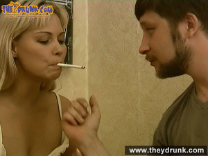 Tipsy smoking blondie in babydoll seducing her boy - XXXonXXX - Pic 15