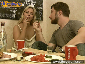 Tipsy smoking blondie in babydoll seducing her boy - XXXonXXX - Pic 16