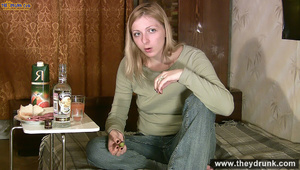 Long haired blond in jeans and jamper gets dunken and shows her boobs - XXXonXXX - Pic 5