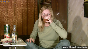 Long haired blond in jeans and jamper gets dunken and shows her boobs - XXXonXXX - Pic 9