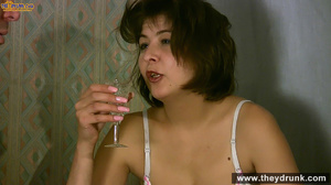 Shy babe made comfortable by some beverages gets naked and sucks her guy - XXXonXXX - Pic 5