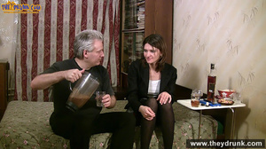 Grey haired daddy drinks with his stepdaughter then they get naked and this young slut is willing to suck - XXXonXXX - Pic 1