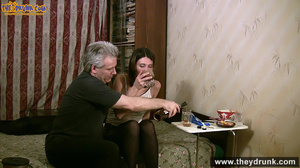 Grey haired daddy drinks with his stepdaughter then they get naked and this young slut is willing to suck - XXXonXXX - Pic 11
