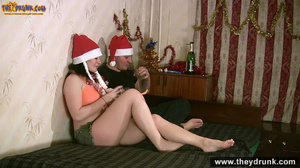 Young couple wearing santa caps celebrating with drinks then this super bodied teenie gives blowjob as christmas present - XXXonXXX - Pic 5