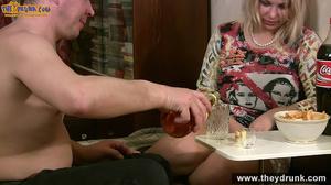 Drunken blondie with big boobs and round ass doing deepthroat - XXXonXXX - Pic 1