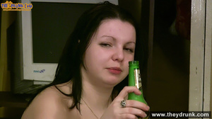 Very drunk brunette undresses and spread her legs to show off her shaved cunt - XXXonXXX - Pic 14
