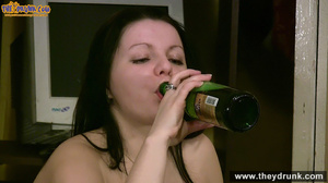 Very drunk brunette undresses and spread her legs to show off her shaved cunt - XXXonXXX - Pic 15