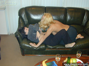 Blond and black lesbians lick each other on the leather couch - XXXonXXX - Pic 3