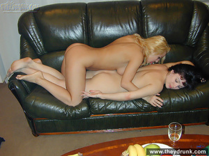 Blond and black lesbians lick each other on the leather couch - XXXonXXX - Pic 14