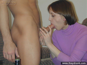 After drinking some beer, acrobatic young brunette takes out her boyfriend's cock for blowjob then gets fucked - XXXonXXX - Pic 6