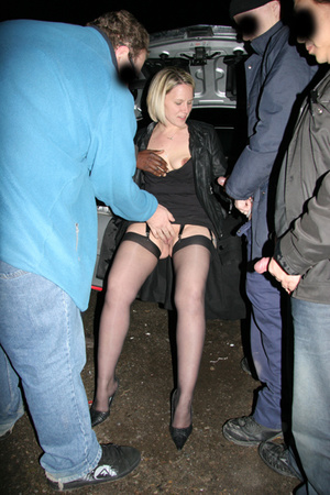 Look at these free orgy pics in which a blonde is nailed in darkness by a group of youngsters - XXXonXXX - Pic 11