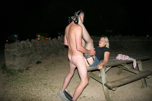 Naked dude fucking roughly blonde whore on the table outdoors - XXXonXXX - Pic 1