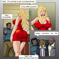 Cock hugry blonde toon milf gonna please two black - Picture 4