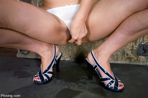 Women pissing from point-headed beauty, and pissed from head to feet by herself - XXXonXXX - Pic 3