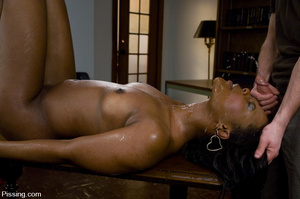 Black beauty is forbidden to do girls pissing, but allowed to groove on men pissing - XXXonXXX - Pic 7