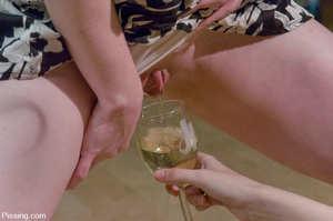 Chestnut curly hairy nasty drinking peeing and pissing in wineglass herself - XXXonXXX - Pic 7