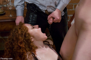 Chestnut curly hairy nasty drinking peeing and pissing in wineglass herself - XXXonXXX - Pic 9
