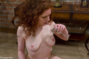 Chestnut curly hairy nasty drinking peeing and pissing in wineglass herself - XXXonXXX - Pic 13