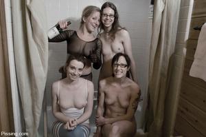 I wonder how four go  ldenshower-minded lezzos can do in the bathroom - XXXonXXX - Pic 15