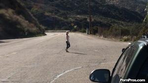 While walking through mountains met a guy who got her boobs nude in public - XXXonXXX - Pic 1