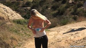 While walking through mountains met a guy who got her boobs nude in public - XXXonXXX - Pic 14
