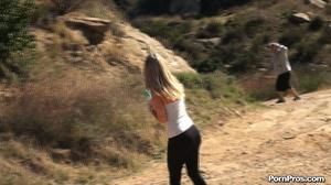 While walking through mountains met a guy who got her boobs nude in public - XXXonXXX - Pic 16