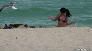 While on the beach, some public sex angel ripped her violet bra off her boobs - XXXonXXX - Pic 3
