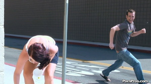 Running away from her muscled and smart public masturbation doer! - XXXonXXX - Pic 12