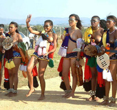 Massive sports competition among ebony anal ladies on the stadium