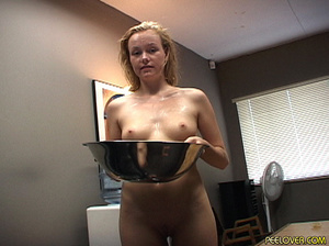 The whole bowl of pee drunk by blonde after doing the hottest blowjob! - XXXonXXX - Pic 2